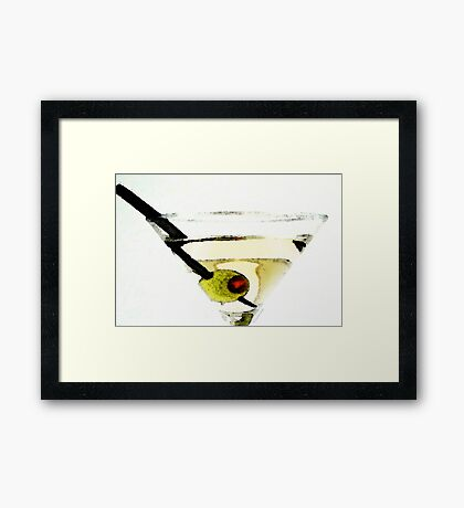 Martini With Green Olive Framed Print