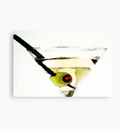 Martini With Green Olive Canvas Print