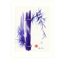 'Spring' Original ink and wash lavender bamboo painting Art Print