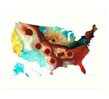 United States of America Map 6 - Colorful USA Art Print