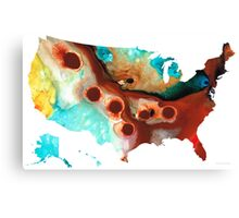 United States of America Map 6 - Colorful USA Canvas Print