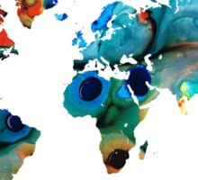 Map of The World 6 -Colorful Abstract Art Sticker
