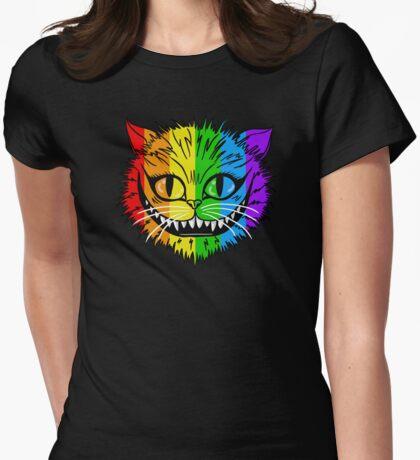 Rainbow Cheshire Cat Womens Fitted T-Shirt