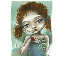 Irish Pixie - beautiful little fairy and a ladybird  Poster