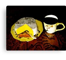 Coffee And Cheese Watercolored Canvas Print