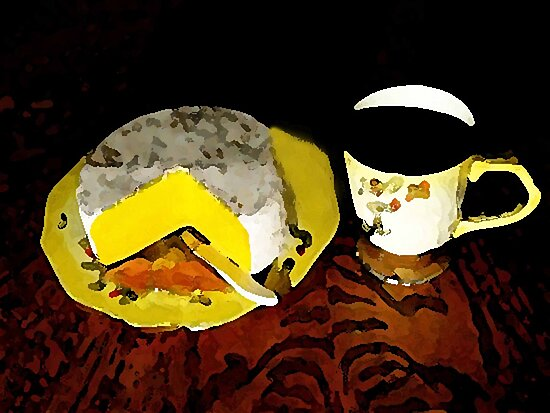 Coffee And Cheese Watercolored by Linda Miller Gesualdo