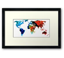 Map of The World 3 -Colorful Abstract Art Framed Print