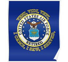 US Air Force Retired VVV Shield Poster