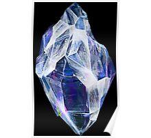 Blue Crystal (Black Background) Poster