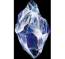 Blue Crystal (Black Background) Photographic Print