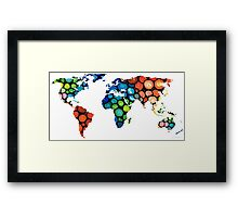 Map of The World 1 -Colorful Abstract Art Framed Print
