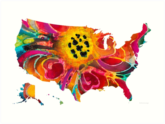 United States of America Map 3 - Colorful USA by Sharon Cummings