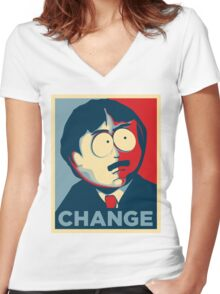 South Park Change  Women's Fitted V-Neck T-Shirt