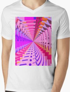 Abstract / Psychedelic Radial Pattern Mens V-Neck T-Shirt