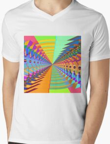 Abstract / Psychedelic Tunnel of Colorful Shapes Mens V-Neck T-Shirt