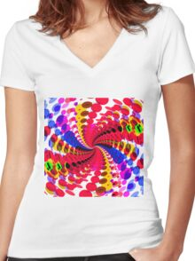 Abstract / Psychedelic Spiral Pattern Women's Fitted V-Neck T-Shirt