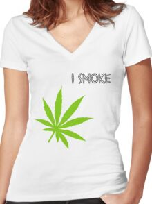 I Smoke Marijuana Women's Fitted V-Neck T-Shirt