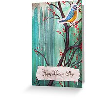 Happy Mother's Day Blue Robin On Cherry Tree Greeting Card