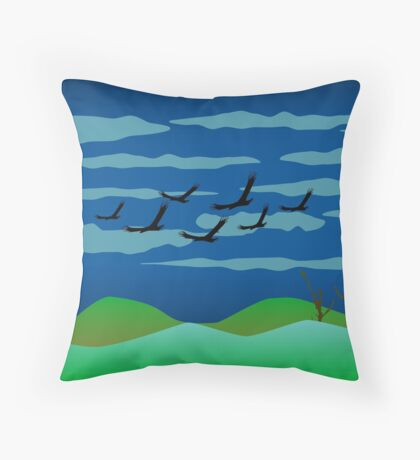 Free Birds in Dark Night Throw Pillow
