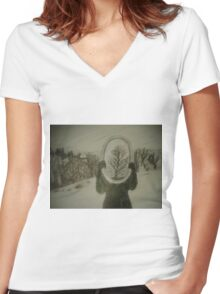 Winter Reflection Women's Fitted V-Neck T-Shirt