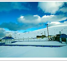 basketball court in the snow in andorra by monicamunozi