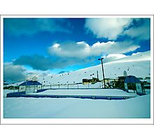basketball court in the snow in andorra Photographic Print