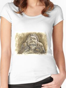 Detail of the fountain Piazza della Rotonda, Rome Women's Fitted Scoop T-Shirt