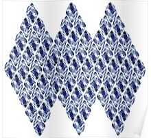 Blue Crystals Pattern Trio Poster