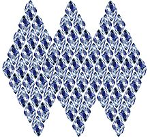 Blue Crystals Pattern Trio Photographic Print