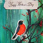 Happy Mother's Day Red Robin On Cherry Tree by Carrie Jackson