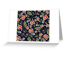 Dark Flower Pattern Greeting Card