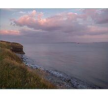 Pink clouds over the coast Photographic Print
