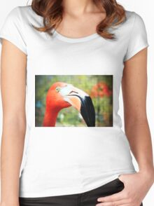 Flamingo Face Women's Fitted Scoop T-Shirt