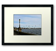 Kite Surfing at Poole Harbour. Framed Print