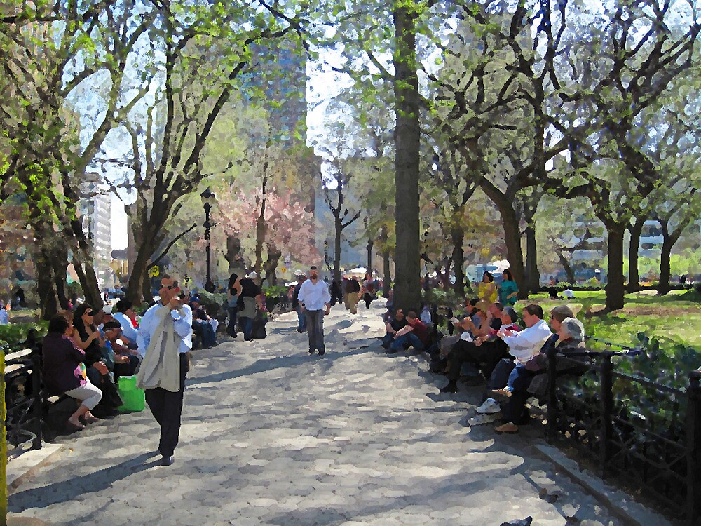 Union Square path and benches by Danny Drexler