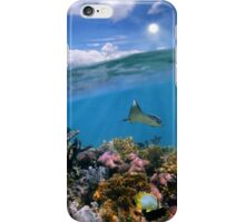 Split view with sky and coral reef underwater iPhone Case/Skin