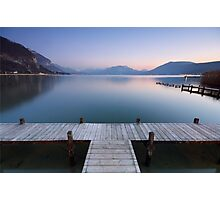 A very soft dusk on Annecy lake Photographic Print