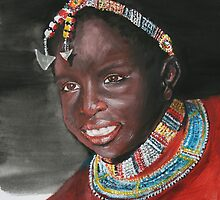 Young Masai girl by Lynda Harris
