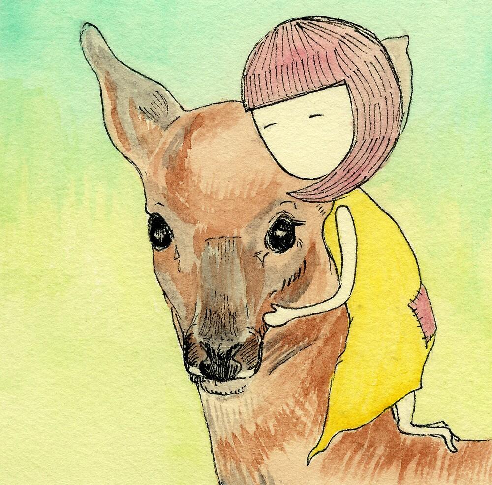 Grendelgirl Hugs Deer by Feng Chen