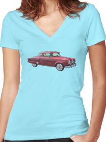 1950 Studebaker Champian Antique Car Women's Fitted V-Neck T-Shirt