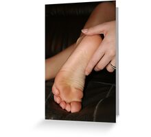 Touching her feet Greeting Card
