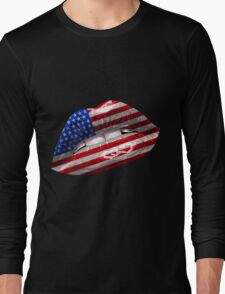 American Flag Graphic Design Long Sleeve T-Shirt