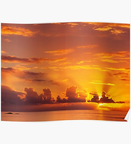 Red Sunset over the Sea Poster