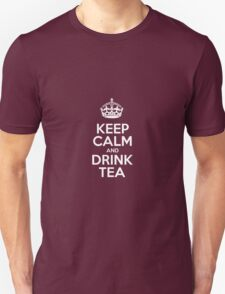 Keep Calm and Drink Tea - Red Leather T-Shirt