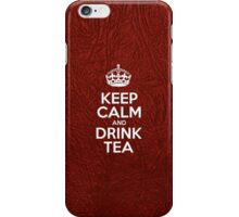 Keep Calm and Drink Tea - Red Leather iPhone Case/Skin
