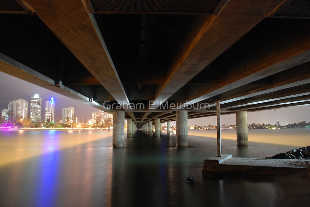 Under the Gold Coast Bridge at night by Graham E Mewburn