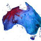 Watercolor map of Australia by Anastasiia Kucherenko