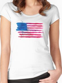 Watercolor Flag of the USA Women's Fitted Scoop T-Shirt