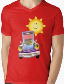 Fun Day Out .. the sun shines on the cute car Mens V-Neck T-Shirt
