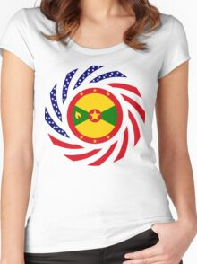 Grenadian American Multinational Patriot Flag Series Women's Fitted Scoop T-Shirt